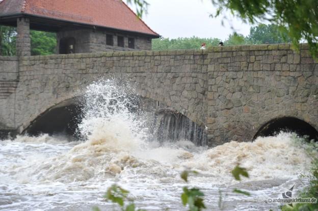 Hochwasser am Palmgartenwehr Leipzig
