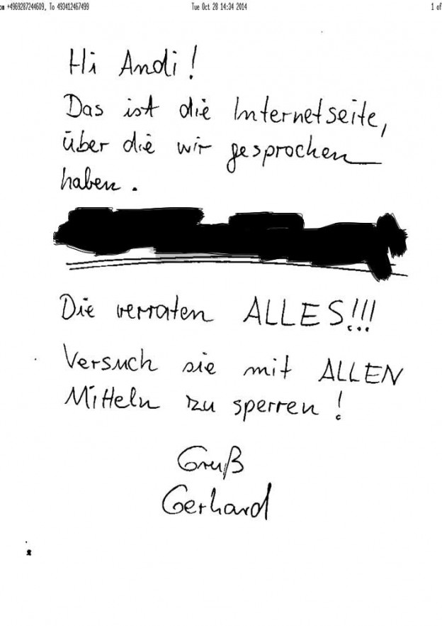 Spam Fax in Handschrift